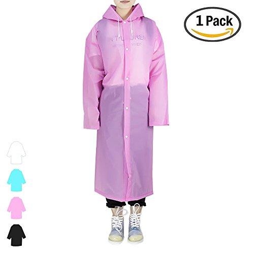 Regenjacken Wiederverwendbar Regenponcho, Umweltfreundliche EVA Regenmantel, Wasserdicht Regenjacke mit Aufbewahrungstasche für Regenschutz - By EnergeticSky™ (Rosa-1 Pack) (Jacke Nike Tex Gore)