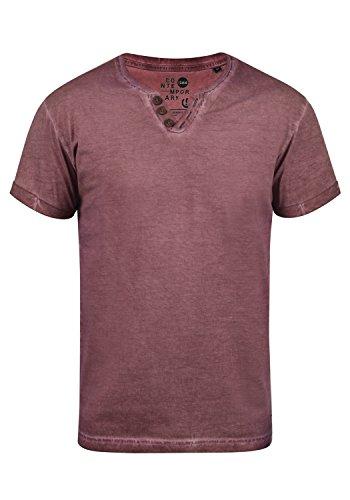 !Solid Tino Herren T-Shirt Kurzarm Shirt Mit V-Ausschnitt Aus 100% Baumwolle, Größe:L, Farbe:Wine Red (0985) - Henley Tee