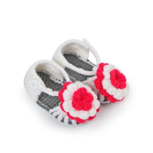 JTC Bébé Chaussure Sandale UnisexeTricot Style de Fleur en Velours(Longueur:11CM)-3 Couleurs (blanc) blanc