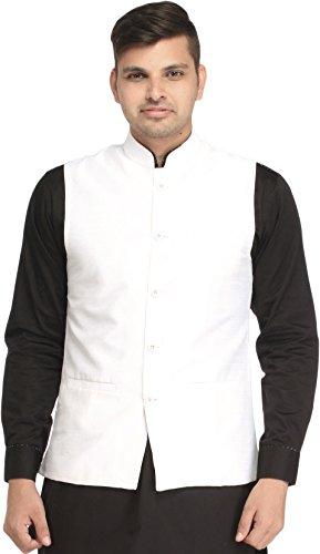Exotic India Plain Wedding Waistcoat with Front Pockets - Color WhiteGarment Size...