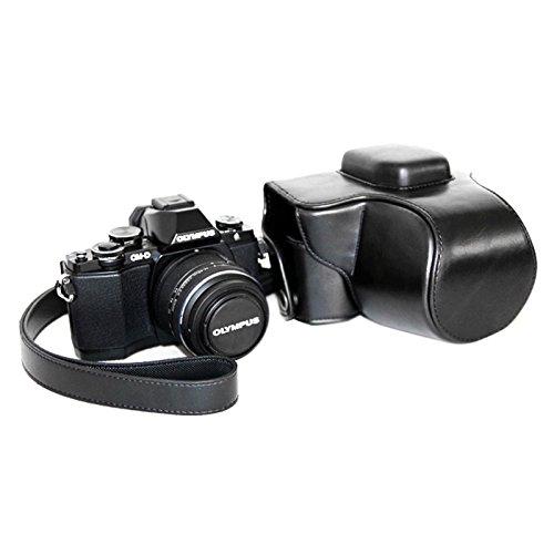Shuo lan Kamerazubehör Kameratasche Öl Haut PU Leder Kameratasche Tasche mit Trageriemen für Olympus EM10 (Farbe : Schwarz)