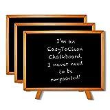 Kreidetafel mini (3 Stück) - 19 x 26cm Mini Tafeln mit Staffelei - Kleine, flache, rechteckige Holz Schiefertafeln für Hochzeiten, Partys, Buffet, Tischnummern- Tischdeko/Tischkarten Hochzeit