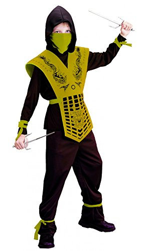 Kostüme Kind Gelbe Ninja (Foxxeo 40188 goldenes Ninjakostüm Kostüm Ninja für Kinder gold Gr. 110 - 158,)