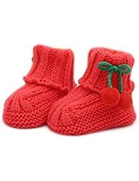 Auxm Zapatos de lana lindos del bebé,Calcetines de punto de invierno para infantil 0