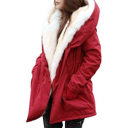 Winter Mäntel Damen Sunday Warme Dicke Fleece Faux Pelzmantel Jacke Parka mit Kapuze Graben Outwear (Rot, XL)