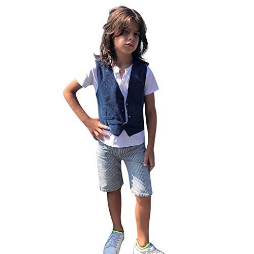 TTLOVE 3 StüCk Kleinkind Kinder Baby Jungen Outfits Kleidung T-Shirt + Weste Shorts Hosen Kid Boy Gentleman Gut Aussehend Set (Weiß,110)