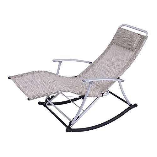 Srjh Klapp Schaukelstuhl Hause Liege Gartenstuhl Balkon Siesta Stuhl Freizeit Stuhl Alter Erwachsener, Leichtgewichtig, Last 200kg, 6 Farben A++ (Color : Beige)