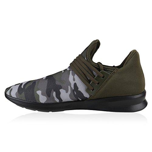 Unisex Sportschuhe | Damen Herren Laufschuhe | Bequeme Runners Profilsohle | Metallic Schnürer | Sneakers Neon Muster | Glitzer Stoffschuhe Lack Camouflage Dunkelgrün