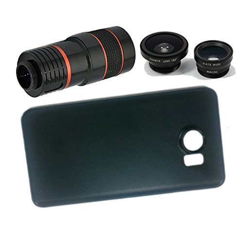 Apexel 4 in 1 Wide Angle Macro Lens + Fisheye Lens + 8X Telephoto Camera Lens Kit with Back Case Cover for Samsung Galaxy Note 5 Black