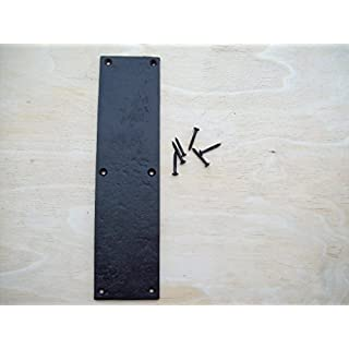 IRONMONGERY WORLD® Black Antique Heavy Duty CAST Iron Finger Door Plate 295MM