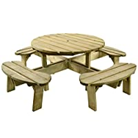 BrackenStyle Premium Quality Pressure Treated 8 Seater Wooden Round Picnic Table - Heavy Duty