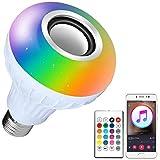 LED RGB Renk Ampul Işık E27 Bluetooth Kontrolü Akıllı Müzik Ses Hoparlör Lambaları