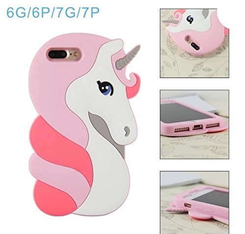 ehenz® TM Unicorn 3d case cover for iPad 2,3,4 iPhone 7,7 +, 6,6 +, 5... arcobaleno Cute iPhone 7+ rosa