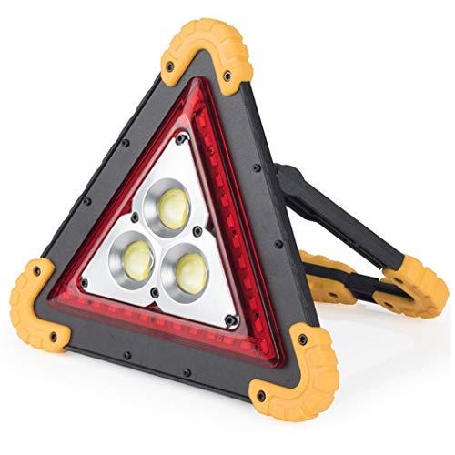 HOMZYY Triángulo Luz de Trabajo LED con 3 Chip COB Advertencia de Emergencia 4 Modo de iluminación Puerto de Carga USB Recargable Reflector portátil Seguridad para Camping Flash Reflectante