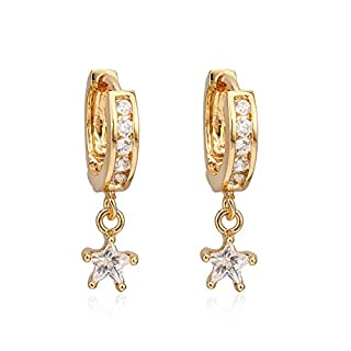 X&Y ANGEL- New Classical 18K Gold Plated CZ Gemstones Dangle Circle Clip Pierced Earrings ER0553