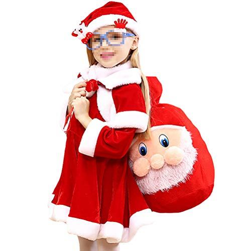 Santa Kostüm Flanell - Fenical Chrismas Kostüm Santa Cosplay Kostüm verdicken Flanell Sets mit Tasche für Mädchen -110cm