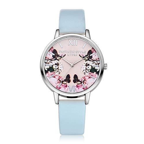 WZFCSAE Neue Armband Uhren Frauen Schmetterling PU Leder Quarzuhr Für Frauen Kleid Armbanduhren Stunden Uhr Weibliche * 206 (Guess Uhren Frauen Schmetterling)