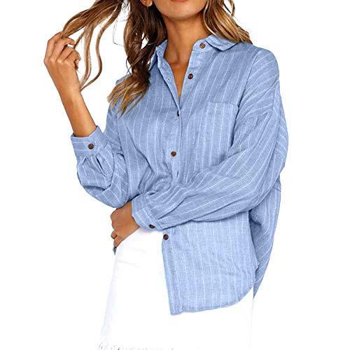 (Bluse Bluelucon Damen Oberteil Elegant Einfarbig Taste Lange Hülse Hemd Casual lose Langarmshirt Tunika Tops T-Shirt)
