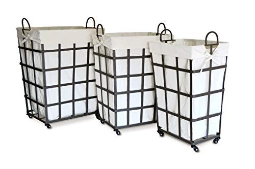 Moycor Décoration-Set de 3 corbeilles en textilène/métal Grands Carreaux