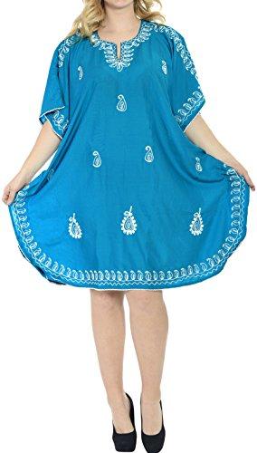 LA LEELA Frauen Damen Rayon Kaftan Tunika Bestickt Kimono freie Größe kurz Midi Party Kleid für Loungewear Urlaub Nachtwäsche Strand jeden Tag Kleider Blau_S602 - Maxi-kleider Blau Licht Für Frauen