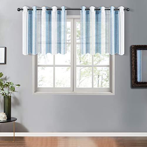 Topfinel Transparente Vorhänge mit Ösen Blau-Weiß-Streifen Voile Gardinen Dekoschal Fensterdekoration für Wohnzimmer und Küche 2er Set je 117x167cm (HxB)