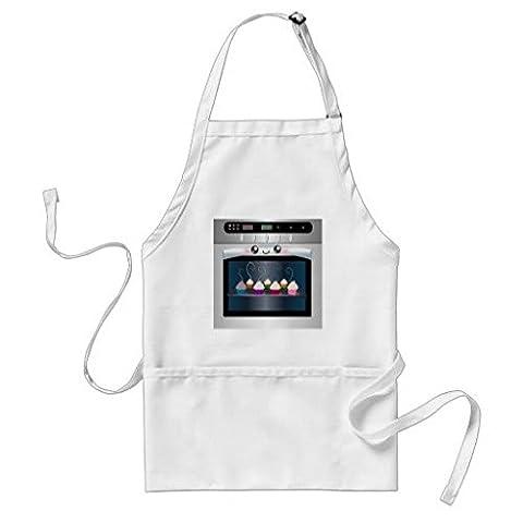 Unisex Cute Happy Ofen mit Cupcakes Polyester Schürze für Erwachsene mit verstellbarem Gurt und Taschen, 53cm von 89cm