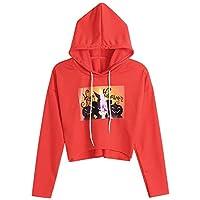 JYC Sudaderas para Mujer,Mujer Halloween Calabaza Impresión Largo Manga,Blusa Parte Superior Encapuchado Camisa de entrenamie