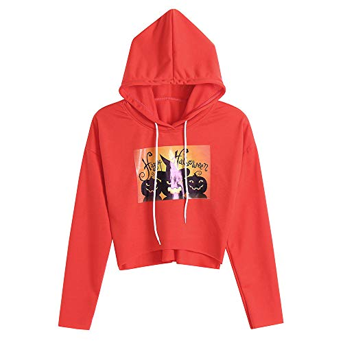 LOPILY Halloween Kostüme Damen Kürbis Sweatshirts Gruselige Kürbis Schnitzeln Sweatshirt 3D Hoodie mit Kapuzen Happy Halloween Printed Pullover Damen Halloween Party Shirt mit Kürbis (Orange, 38)