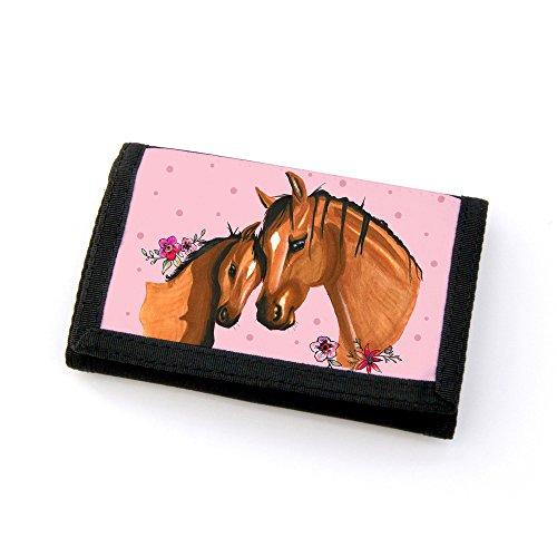 Portemonnaie Geldbörse Brieftasche Pferd Stute mit Fohlen Jungpferd Punkten und Blumen gf45