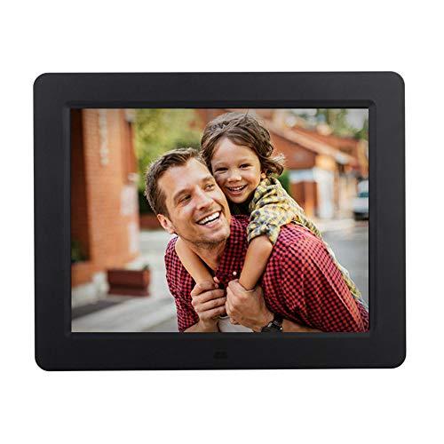 tal-Fotorahmen, 1024 × 768 HD-Breitbildwinkel 16:9 Elektronischer Bilderrahmen mit MP3, Kalender, Fernbedienung, USB- und SD-Kartensteckplatz,Black ()