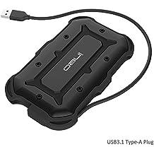 USB 3.1 Type-A to SATA III Carcasa para disco duro 2.5 inch externo – ElecGear IPX6 IP6X A prueba de golpes Impermeable resistente al agua Adaptador Enclosure para HDD SSD Hard Drive con UASP