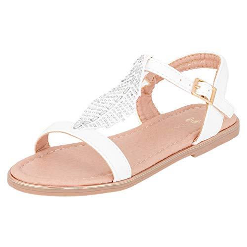 Modische Mädchen Sandalen Sandaletten Kinder Schuhe in Glitzeroptik mit Schnalle M546ws Weiß 29 EU
