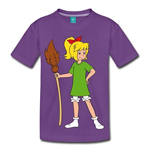 Spreadshirt Bibi Blocksberg Mit Ihrem Besen Kartoffelbrei Kinder Premium T-Shirt, 110/116 (4 Jahre), Lila (Einheitliche T-shirt Lila)