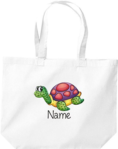 große Einkaufstasche, mit süßen Motiven inkl. Ihrem Wunschnamen Schildkröte, Weiß