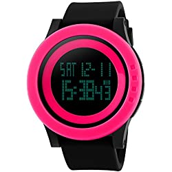 TTLIFE unisex watch mens womens waistwatchs Fashion Big Dial Sports Watches Silicone Watch Band Waterproof LED Digital Watch(red&black)