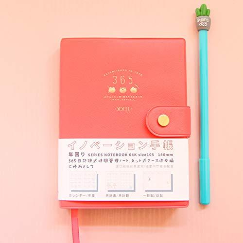 YPGFL Notizbuch 365 Tage Plan Effizienz Notebook Ve Business Tagebuch Notebook 1 Stück, Rot