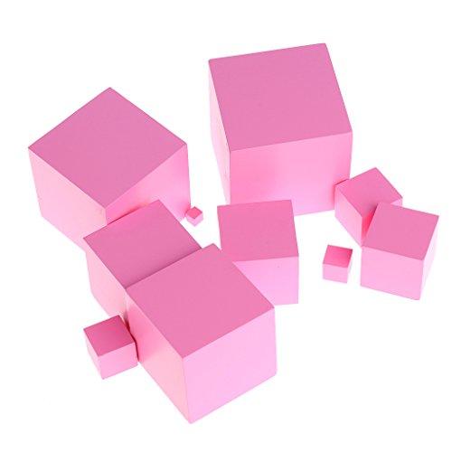 JAGETRADE Montessori Materiali sensoriali Famiglia di torri Blocchi di costruzione in legno Toy Kid Pink