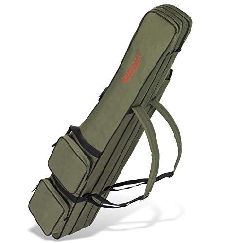 ARAPAIMA FISHING EQUIPMENT Allround Rutentasche Angeln Tasche mit 3 Innenfächern für Angelruten, Kescher und Rutenhalter - 125 cm - Oliv