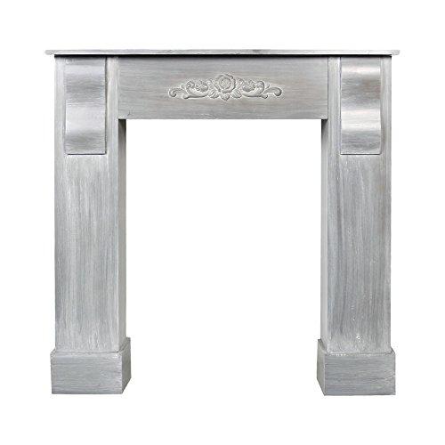 Rebecca mobili cornice per decorazione camino shabby caminetto finto in legno grigio da arredo (cod. re4503)