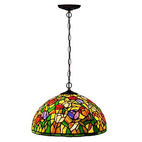 Tiffany Stil Kronleuchter, 16 Zoll Europäische Kreative Tulpe/Glasmalerei Einzelne Pendent Lampe, Dekoratives Pendent Licht Für Bar Restaurant -