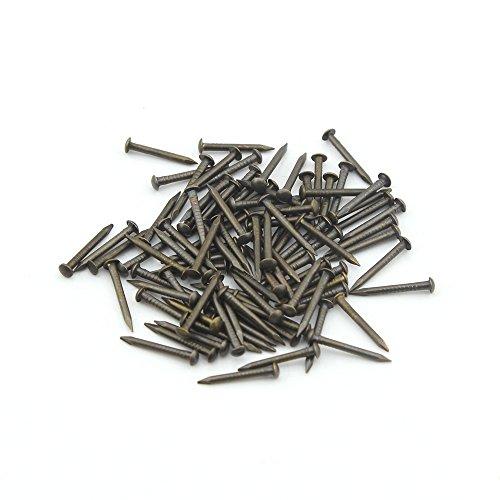 Omyzan 100 stücke Reines Kupfer Runden Kopf Goldene Hölzerne Nägel DIY Dekorative Boxen Zubehör Bronze 2 * 20mm (Hölzerne Trommel)