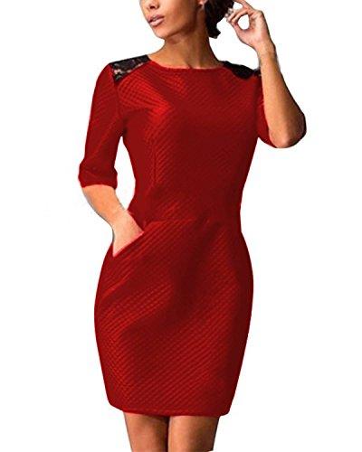 ZANZEA Femmes Sexy Dentelle épaule Casual Mini Noir Rouge Manches Courtes Poches Robe Moulante Rouge