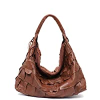 Genuine Leather Women's Shoulder Bag STEPHIECATH Large Casual Soft Real Leather Skin Tote Vintage Snap Basket Carry Bag SMALL BROWN