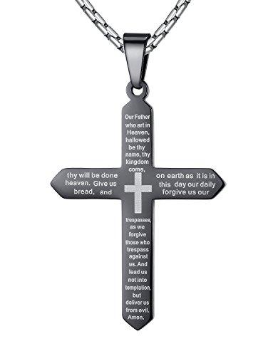 Aoiy Herren-Halskette mit Anhänger, Bibel Gebet, Vaterunser, auf Englisch, Kreuz, Edelstahl, Schwarz, 58cm Kette, ddp055he (Bibel Und Halloween)