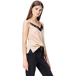 FIND 24723 camiseta tirantes mujer, Beige (Champagne), 40 (Talla del Fabricante: Medium)