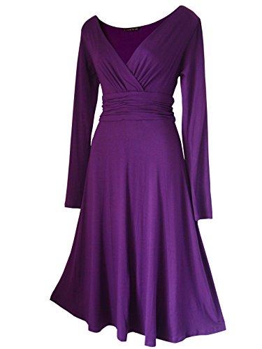 Robe Femme Sexy STYLE VINTAGE ,élégante/Robe de cocktail ,robe à manches longues, Disponible en différents coloris,Taille 36 - 52 Violet