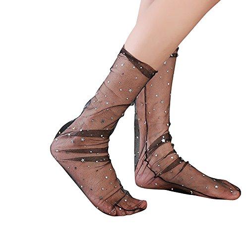 (NPRADLA 2018 Damen Socken Mode Glitter Stern Weiche Mesh Transparente Elastische Sheer Knöchelsocke)