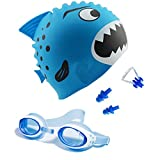 Kinder-Schwimmkappe, Schwimmbrille mit 3 Verstellbaren Nasenrücken & geschützten Anti-Nebel und Gehörschutzstöpsel für Kinder (Blau)