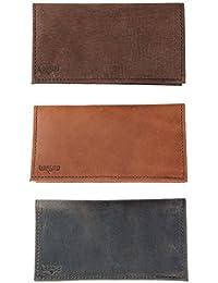 Boston Leather Conjunto de Tapa de talonario de Cuero para Hombre (Paquete de 3)