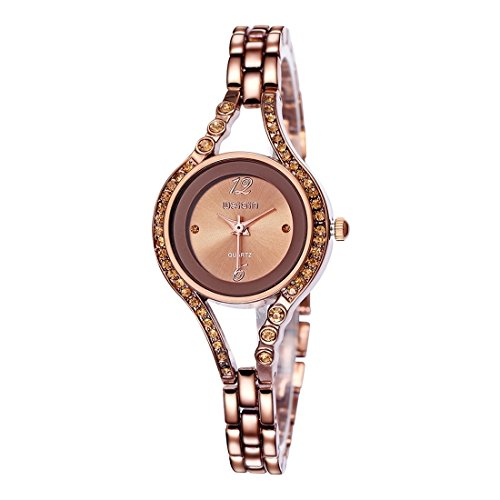 Orologi da polso , WEIQIN 2724 strass Scala Shell Dial Arco della manopola del modo delle donne orologio al quarzo con fascia della lega ( SKU : S-WA-0353CC )